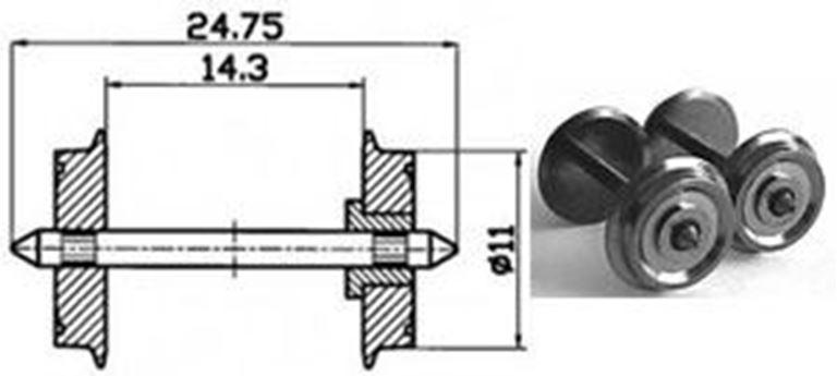 ROCO 40198 Колёсная пара с одной изоляторной втулкой для DC, диаметр колеса 11мм