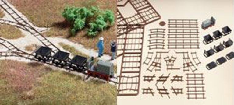 AUHAGEN 41700 Набор узкоколейной дороги с локомотивом и вагонетками, H0