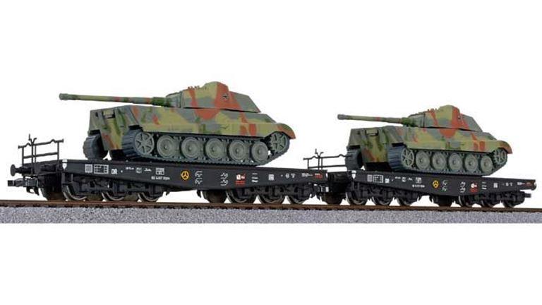 LILIPUT 230145 Фитинговые платформы с танками «Королевский тигр» (2 шт.), H0, II, DR